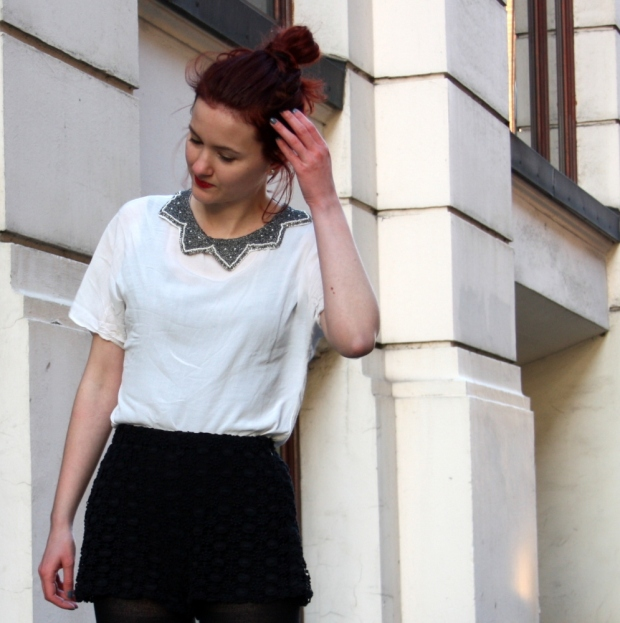 9_lace shorts zara blouse