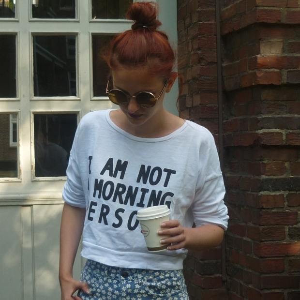 I am not a morning person floral high waist short_2