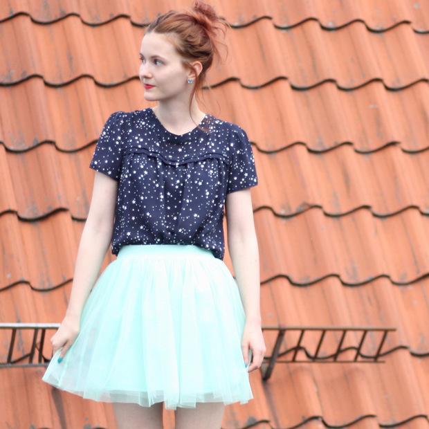 10_mintgrüner Tüllrock blaues Sternenoberteil