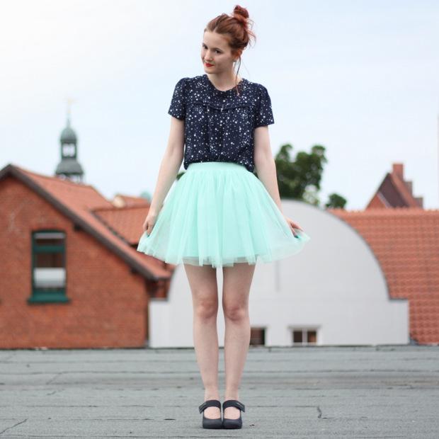 2_mintgrüner Tüllrock blaues Sternenoberteil