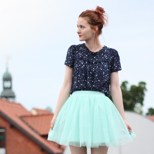 3_mintgrüner Tüllrock blaues Sternenoberteil