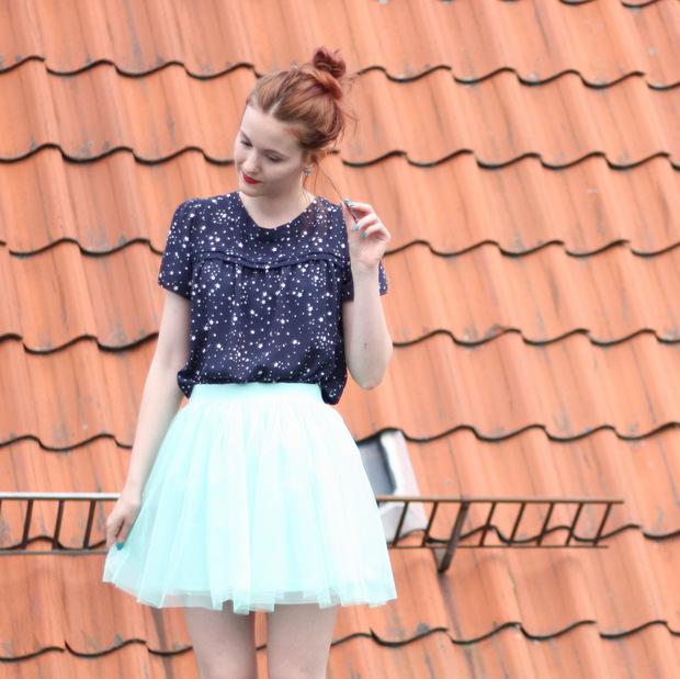 4_mintgrüner Tüllrock blaues Sternenoberteil