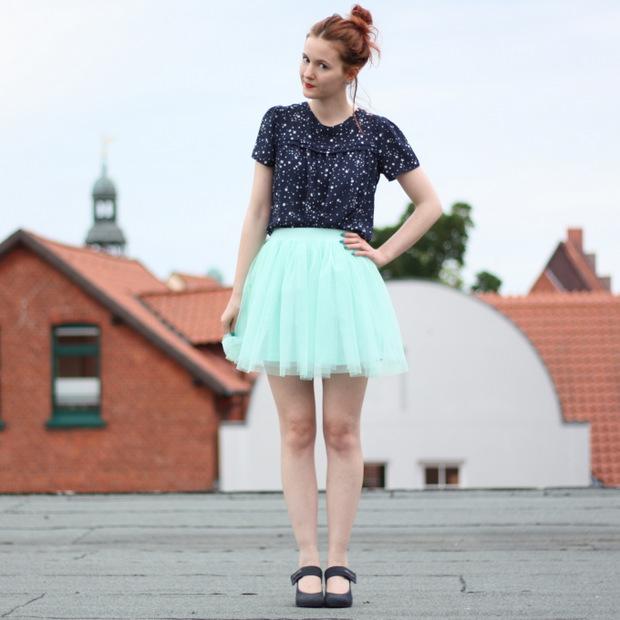5_mintgrüner Tüllrock blaues Sternenoberteil