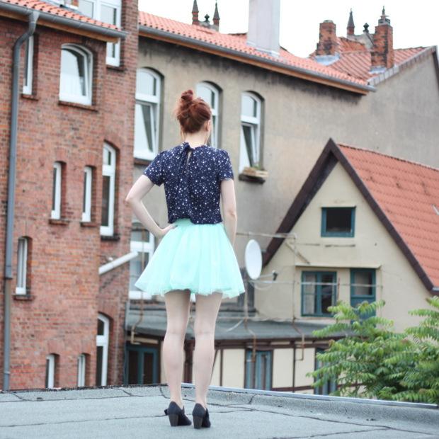 8_mintgrüner Tüllrock blaues Sternenoberteil